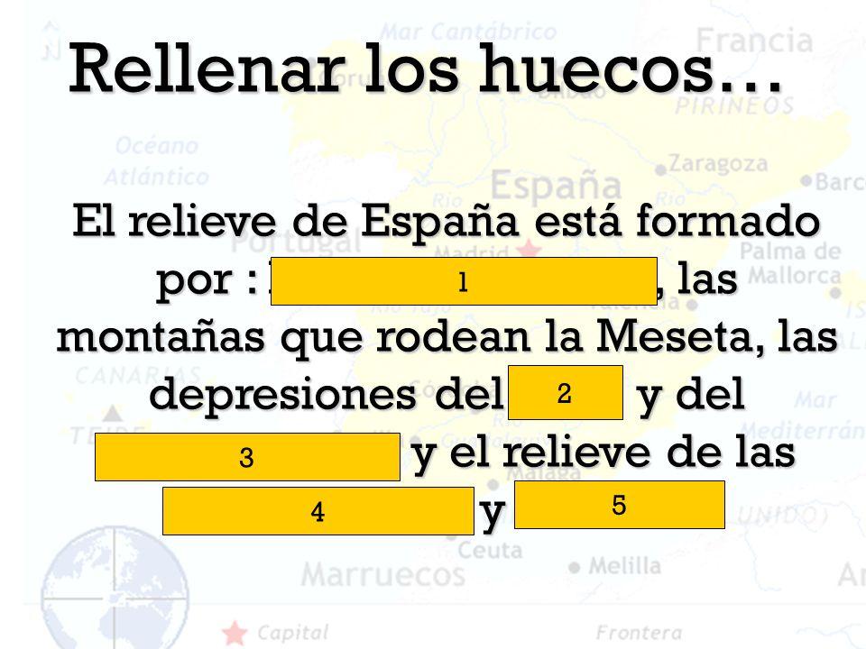 Rellenar los huecos… El relieve de España está formado por : la Meseta Central, las montañas que rodean la Meseta, las depresiones del Ebro y del Guad