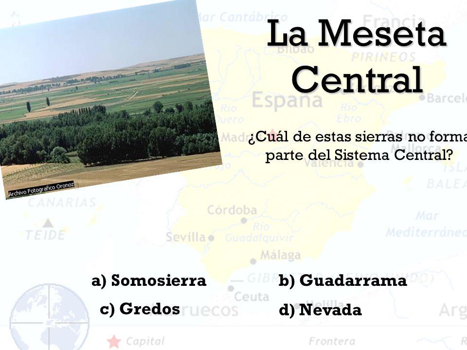 La Meseta Central ¿Cuál de estas sierras no forma parte del Sistema Central? a) Somosierra d) Nevada c) Gredos b) Guadarrama