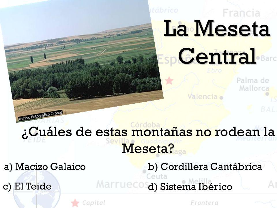 La Meseta Central ¿Cuáles de estas montañas no rodean la Meseta? a) Macizo Galaicob) Cordillera Cantábrica d) Sistema Ibérico c) El Teide