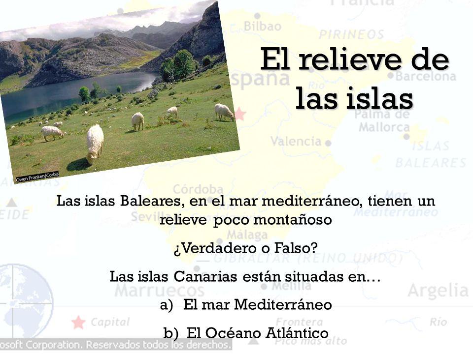 El relieve de las islas Las islas Baleares, en el mar mediterráneo, tienen un relieve poco montañoso ¿Verdadero o Falso? Las islas Canarias están situ
