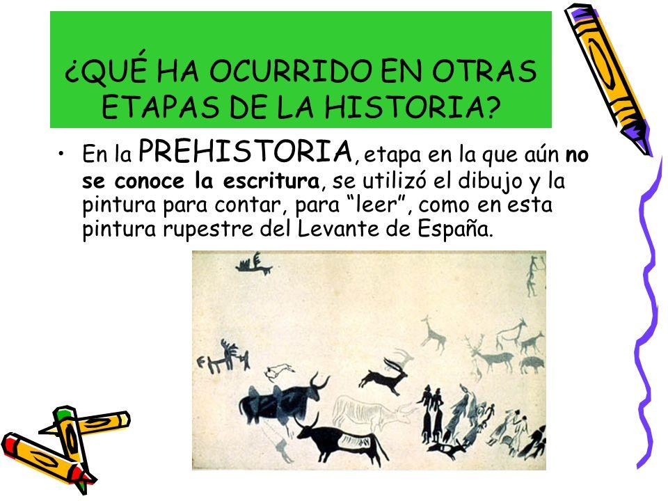 ¿QUÉ HA OCURRIDO EN OTRAS ETAPAS DE LA HISTORIA? En la PREHISTORIA, etapa en la que aún no se conoce la escritura, se utilizó el dibujo y la pintura p