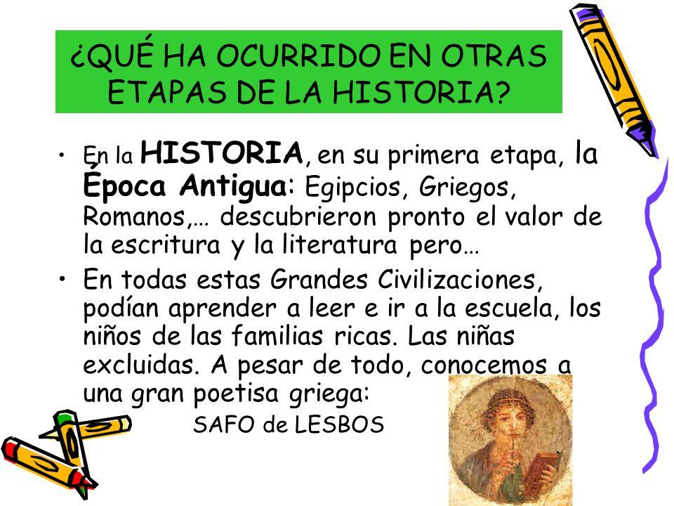 ¿QUÉ HA OCURRIDO EN OTRAS ETAPAS DE LA HISTORIA? En la HISTORIA, en su primera etapa, la Época Antigua: Egipcios, Griegos, Romanos,… descubrieron pron