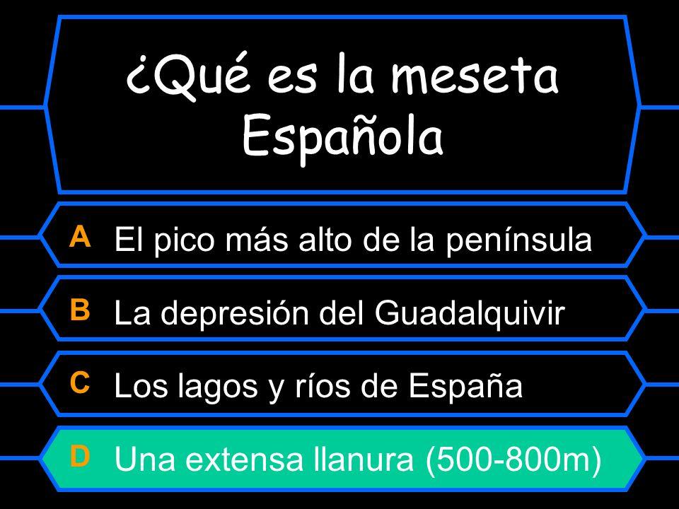 ¿Qué es la meseta Española? A El pico más alto de la península B La depresión del Guadalquivir C Los lagos y ríos de España D Una extensa llanura (500