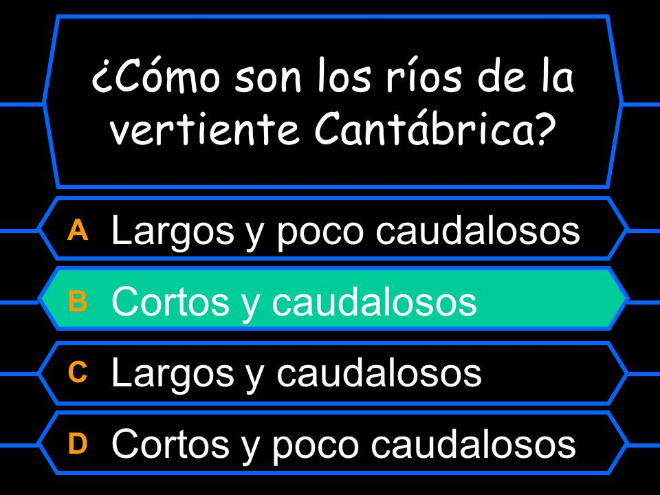 ¿Cómo son los ríos de la vertiente Cantábrica? A Largos y poco caudaloso B Cortos y caudalosos C Largos y muy caudalosos D Cortos y poco caudalosos