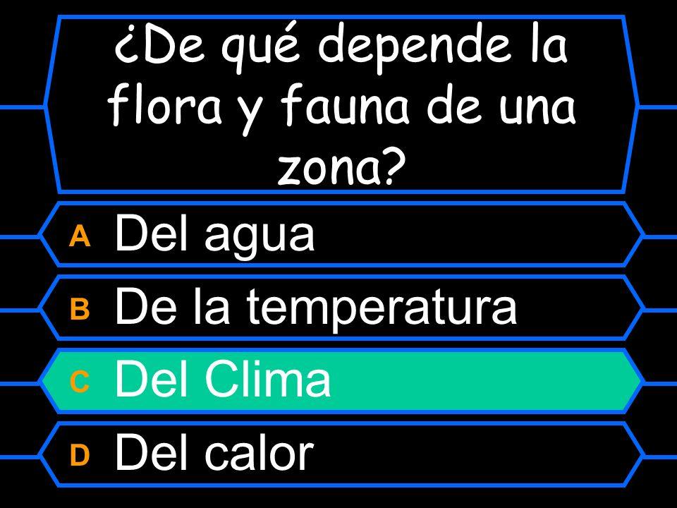 ¿De qué depende la flora y fauna de una zona? A Del agua B De la temperatura C Del Clima D Del calor