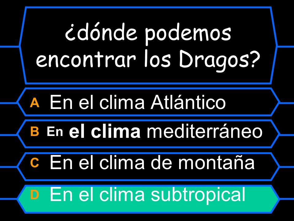 ¿dónde podemos encontrar los Dragos? A En el clima Atlántico B En el clima Mediterráneo C En el clima de montaña D En el clima subtropical