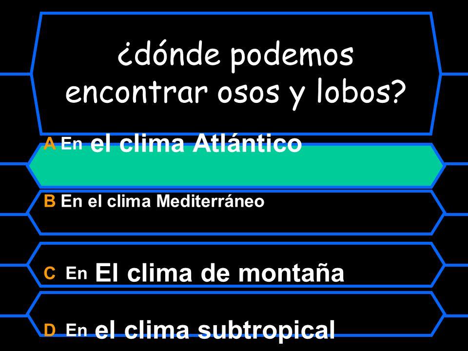¿dónde podemos encontra osos y lobos? A En el clima Atlántico B En el clima mediterráneo C En el clima de montaña D En el clima subtropical
