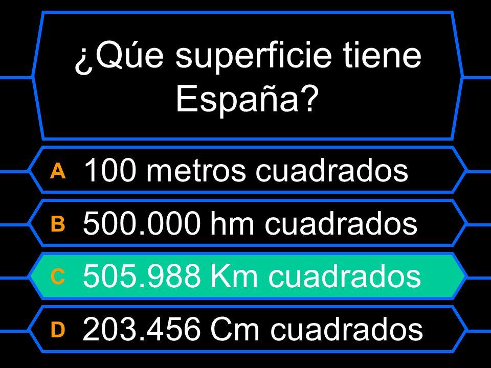 ¿Qué superficie tiene España? A 100 metros cuadrados B 500.000 hm cuadrados C 505.988 km cuadrados D 203.456 cm cuadrados