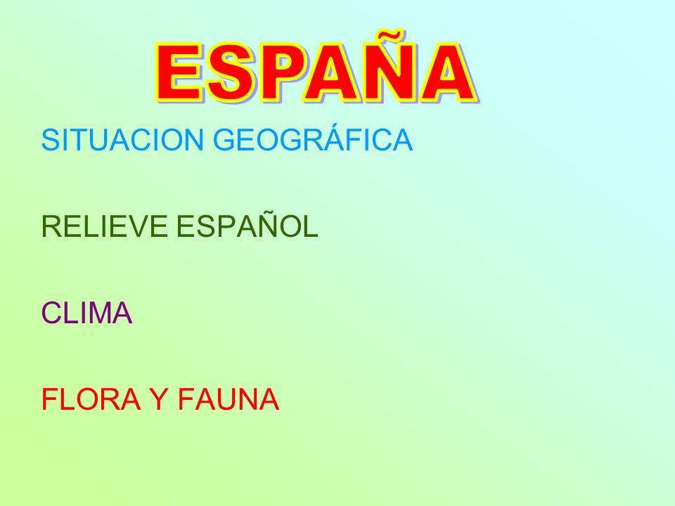 SITUACION GEOGRÁFICA RELIEVE ESPAÑOL CLIMA FLORA Y FAUNA