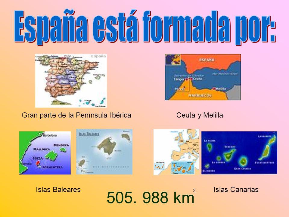 Está en el centro de la Península Ibérica Tiene unos 5 millones de habitantes