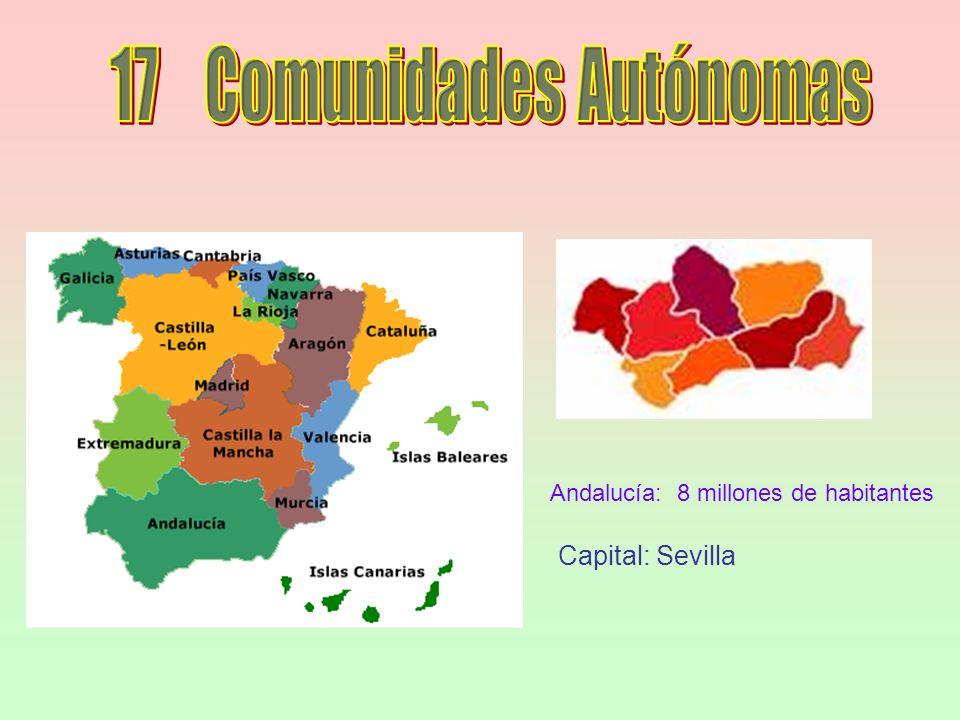 Andalucía: 8 millones de habitantes Capital: Sevilla