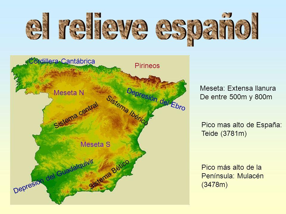 Meseta N Meseta S Pirineos Cordillera Cantábrica Sistema Ibérico Sistema central Sistema Bético Depresión del Guadalquivir Depresión del Ebro Meseta: