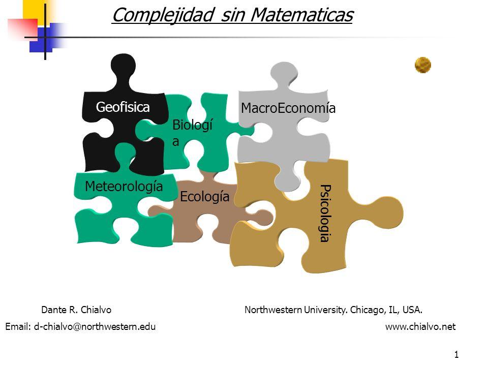 1 Complejidad sin Matematicas Ecología Biologí a Psicologia Meteorología MacroEconomía Geofisica Dante R.