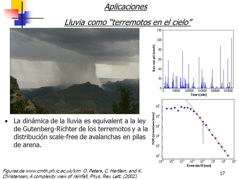 17 Aplicaciones Lluvia como terremotos en el cielo La dinámica de la lluvia es equivalent a la ley de Gutenberg-Richter de los terremotos y a la distribución scale-free de avalanchas en pilas de arena.