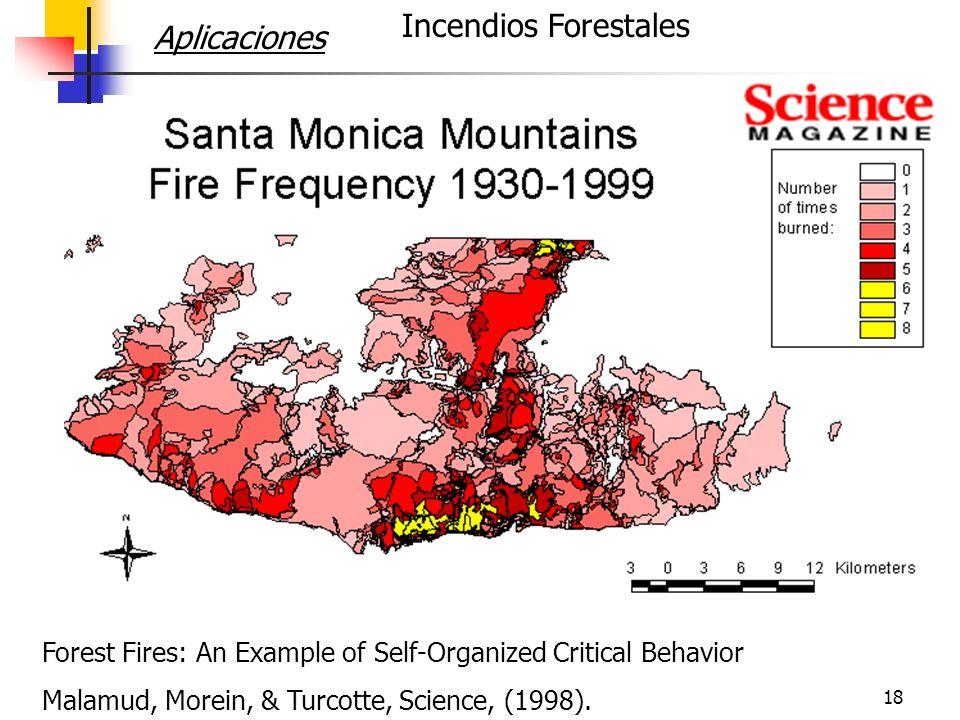 19 Forest Fires: An Example of Self-Organized Critical Behavior Malamud, Morein, & Turcotte (1998) 4 data sets Incendios Forestales Lo mismo, o peor, del otro lado de la frontera.