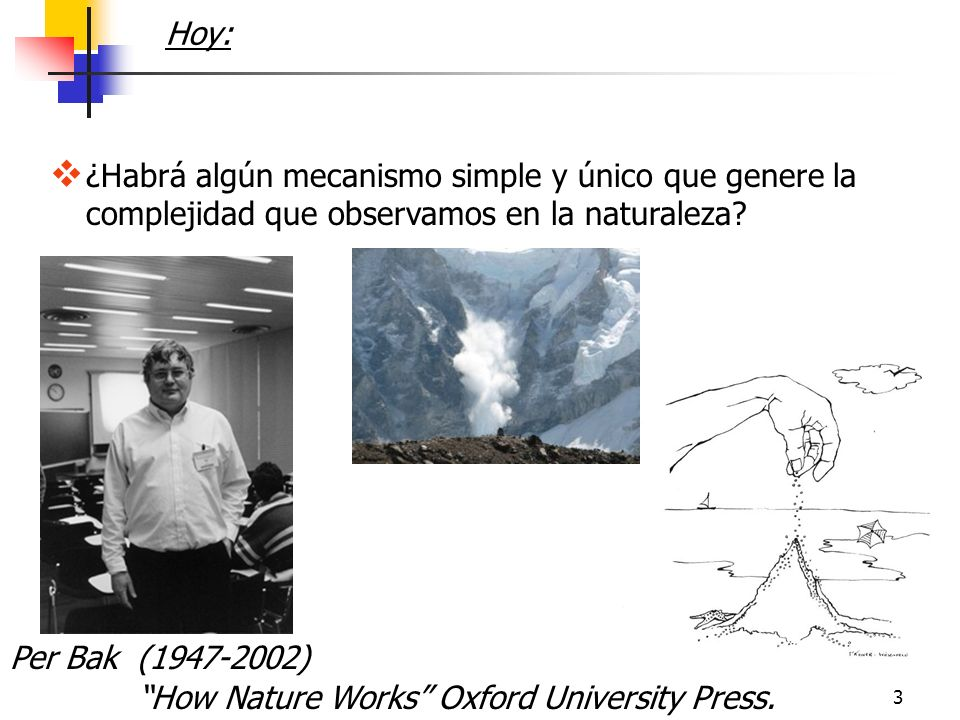 3 ¿Habrá algún mecanismo simple y único que genere la complejidad que observamos en la naturaleza? Hoy: How Nature Works Oxford University Press. Per