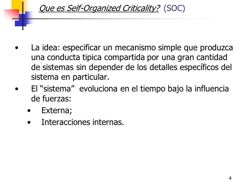 4 Que es Self-Organized Criticality.