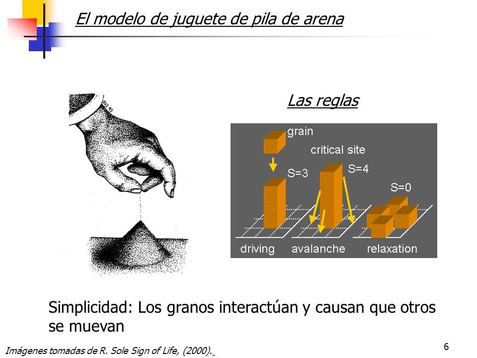 6 Simplicidad: Los granos interactúan y causan que otros se muevan El modelo de juguete de pila de arena Las reglas Imágenes tomadas de R.