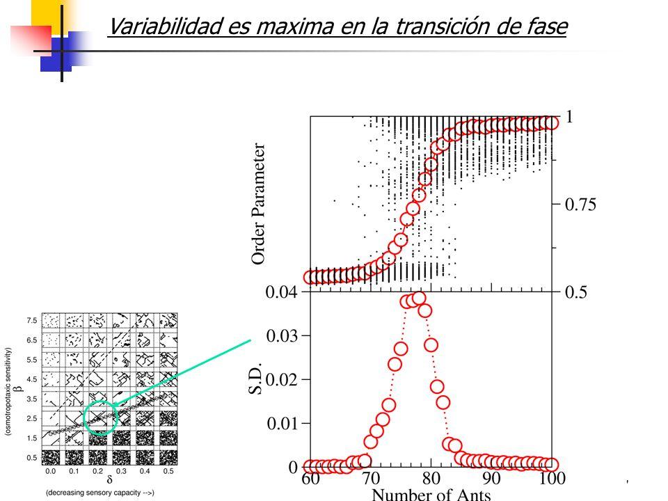17 Variabilidad es maxima en la transición de fase