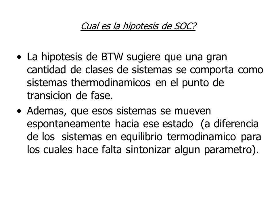 Cual es la hipotesis de SOC? La hipotesis de BTW sugiere que una gran cantidad de clases de sistemas se comporta como sistemas thermodinamicos en el p