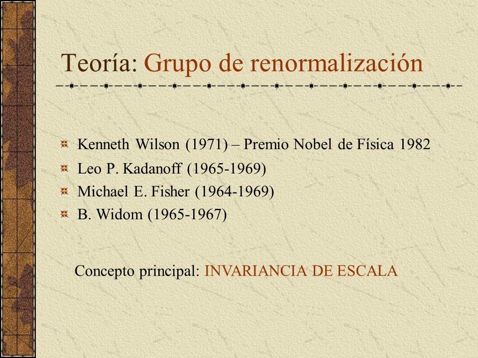 Teoría: Grupo de renormalización Kenneth Wilson (1971) – Premio Nobel de Física 1982 Leo P. Kadanoff (1965-1969) Michael E. Fisher (1964-1969) B. Wido