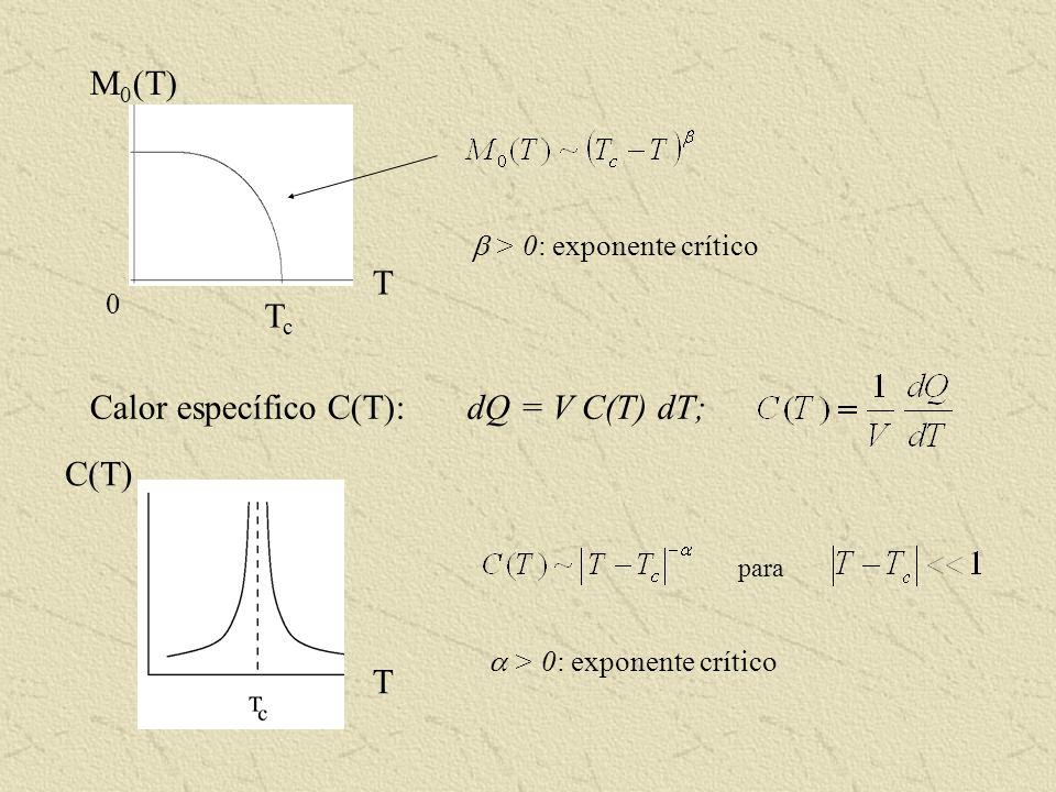 Respuesta ante un campo magnético externo B Susceptibilidad magnética: para V = 1 B << 1 (T) T > 0: exponente crítico para