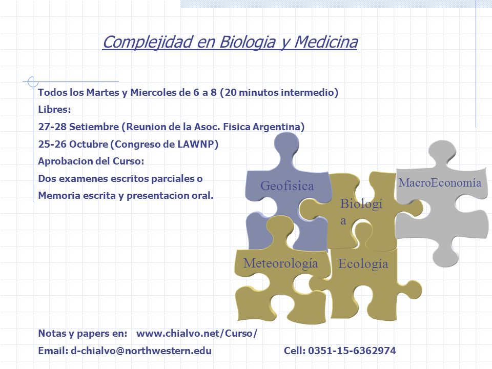 Complejidad en Biologia y Medicina Todos los Martes y Miercoles de 6 a 8 (20 minutos intermedio) Libres: 27-28 Setiembre (Reunion de la Asoc. Fisica A