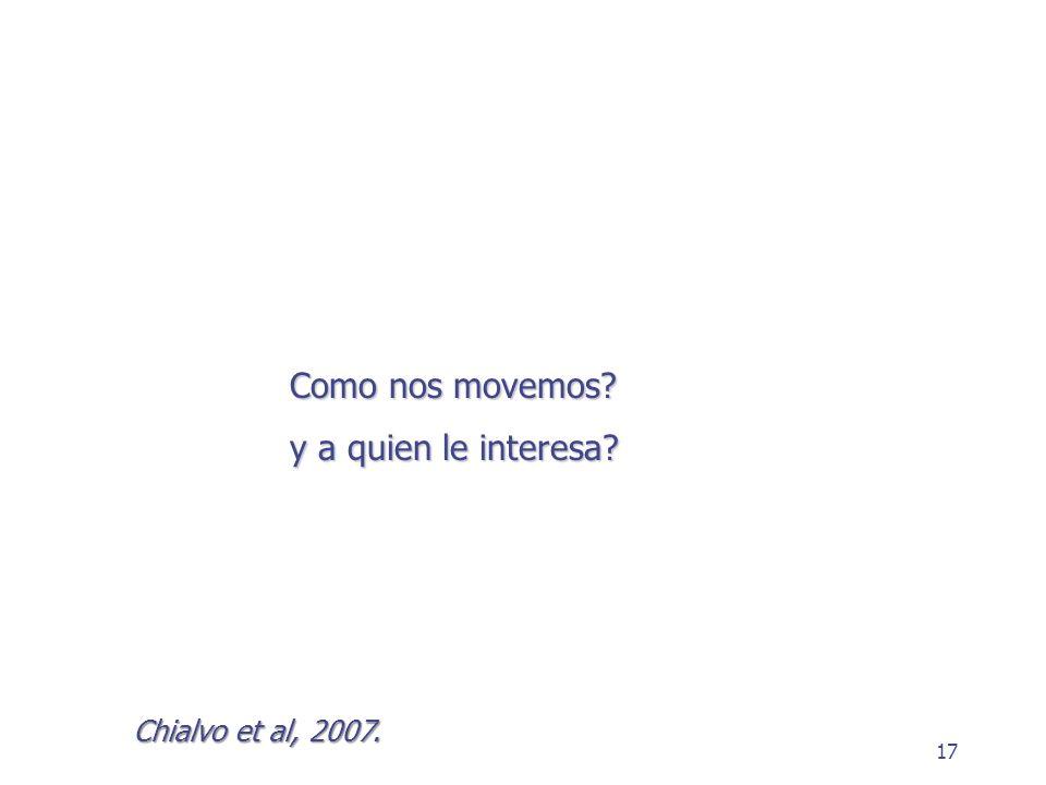 17 Como nos movemos? y a quien le interesa? Chialvo et al, 2007.