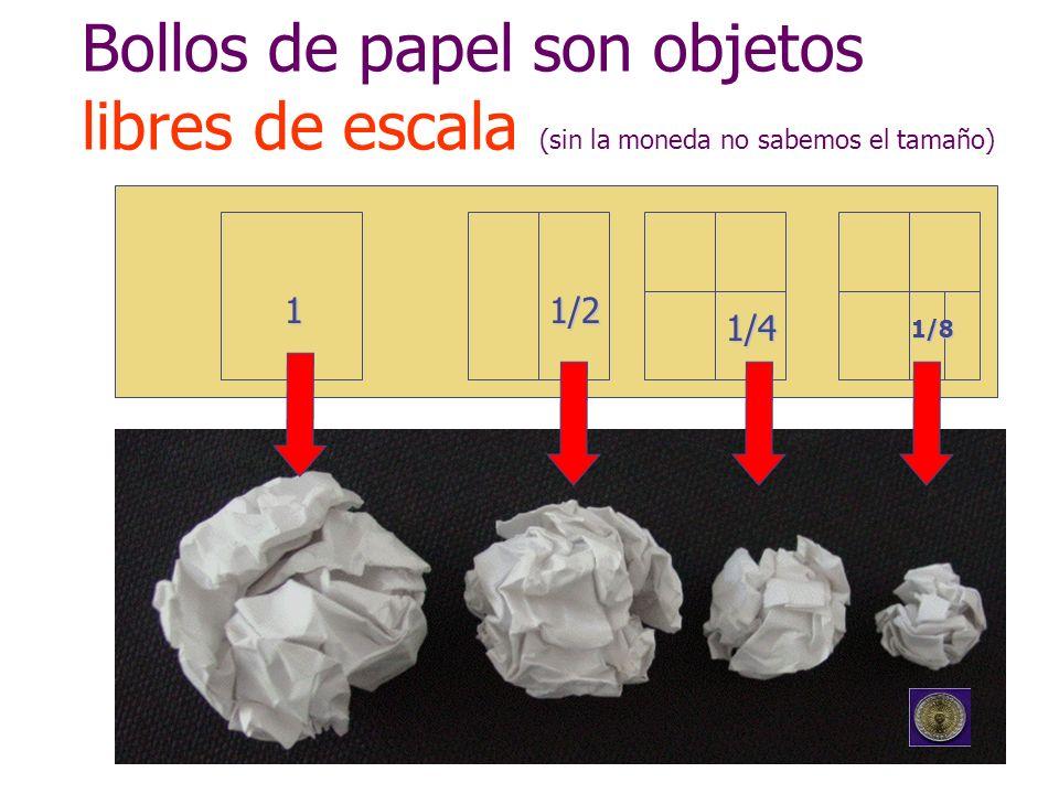Bollos de papel son objetos libres de escala (sin la moneda no sabemos el tamaño) 11/2 1/4 1/8