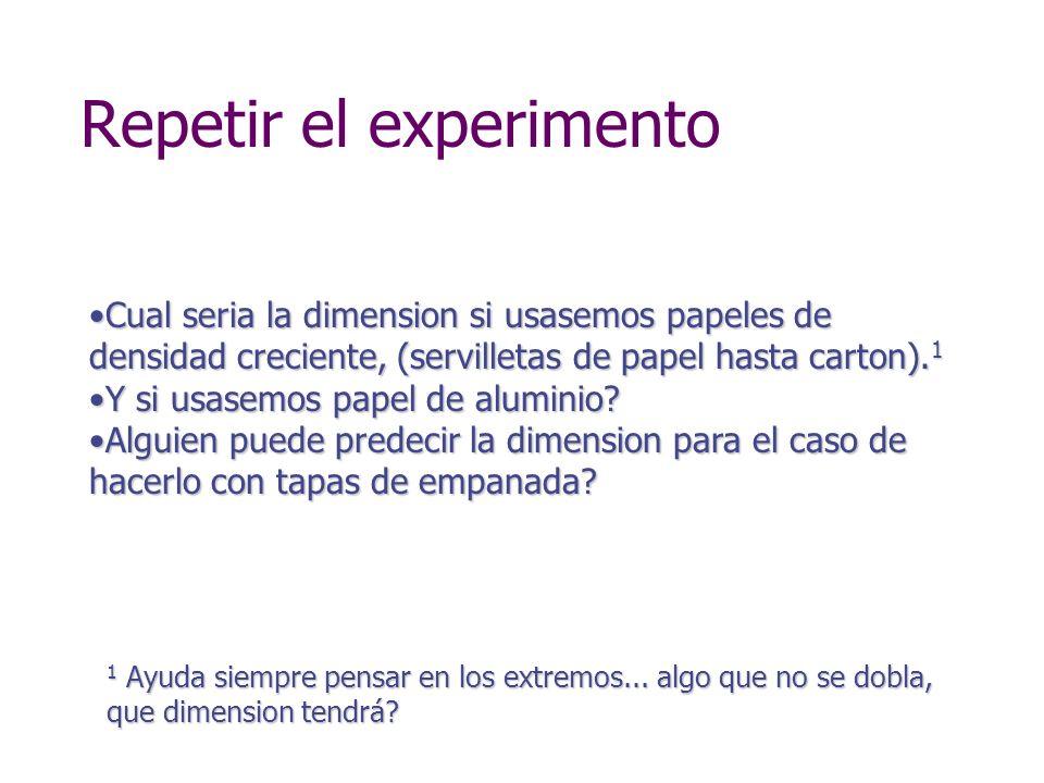 Repetir el experimento Cual seria la dimension si usasemos papeles de densidad creciente, (servilletas de papel hasta carton). 1Cual seria la dimensio