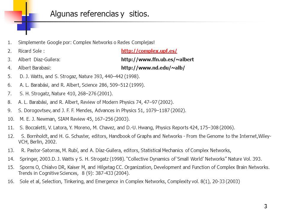 3 1.Simplemente Google por: Complex Networks o Redes Complejas! 2.Ricard Sole :http://complex.upf.es/http://complex.upf.es/ 3.Albert Diaz-Guilera: htt