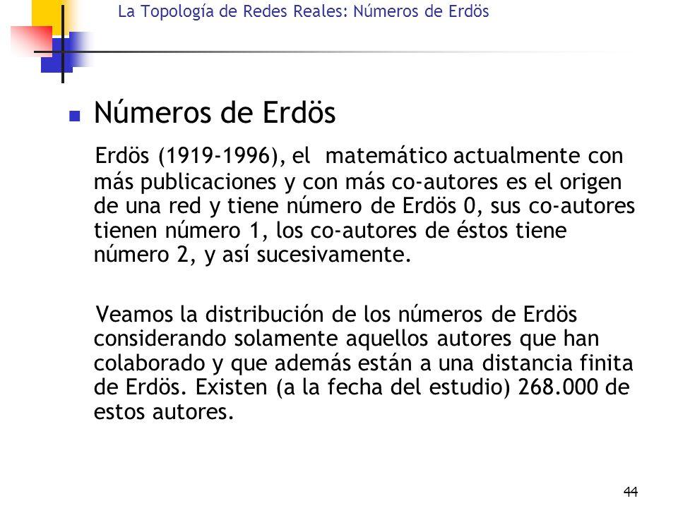 44 La Topología de Redes Reales: Números de Erdös Números de Erdös Erdös (1919-1996), el matemático actualmente con más publicaciones y con más co-aut