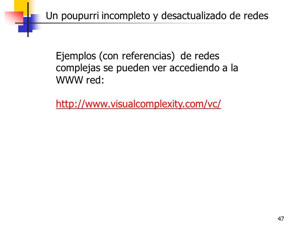 47 Ejemplos (con referencias) de redes complejas se pueden ver accediendo a la WWW red: http://www.visualcomplexity.com/vc/ Un poupurri incompleto y d
