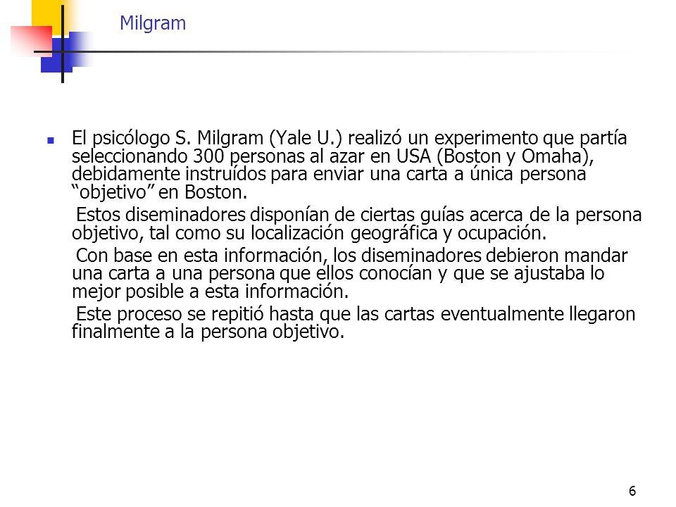 6 Milgram El psicólogo S. Milgram (Yale U.) realizó un experimento que partía seleccionando 300 personas al azar en USA (Boston y Omaha), debidamente