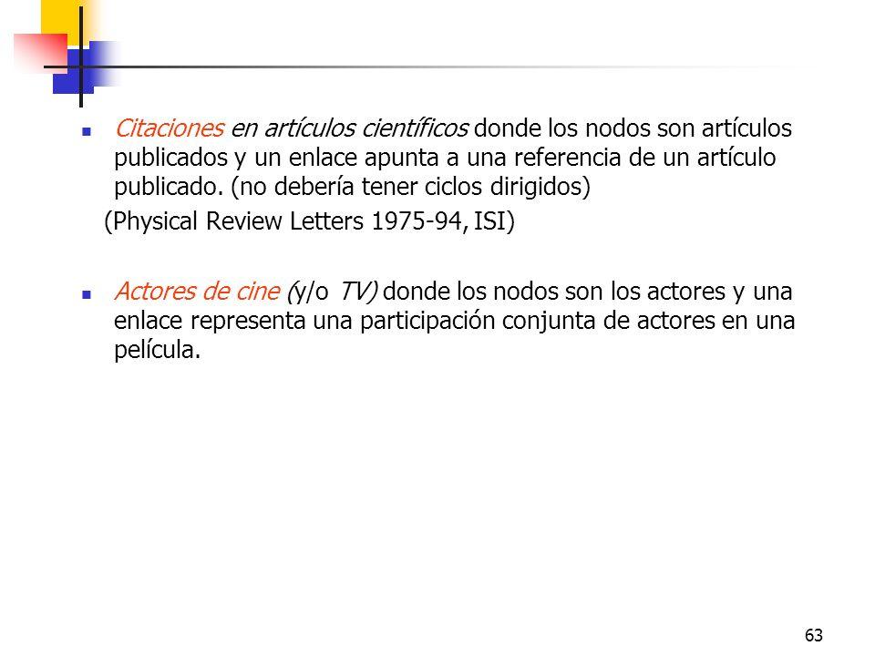 63 Citaciones en artículos científicos donde los nodos son artículos publicados y un enlace apunta a una referencia de un artículo publicado. (no debe
