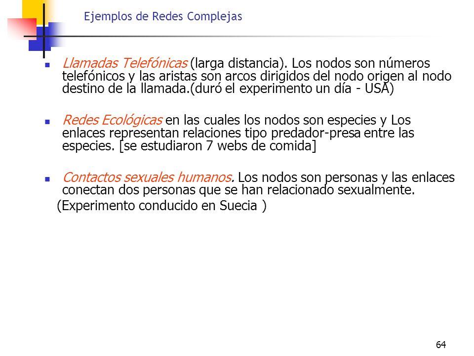 64 Ejemplos de Redes Complejas Llamadas Telefónicas (larga distancia). Los nodos son números telefónicos y las aristas son arcos dirigidos del nodo or