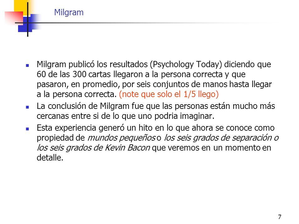 7 Milgram Milgram publicó los resultados (Psychology Today) diciendo que 60 de las 300 cartas llegaron a la persona correcta y que pasaron, en promedi
