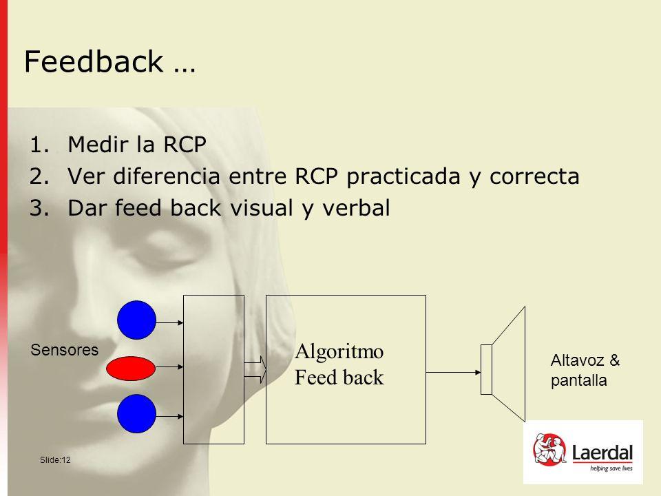 Slide:12 Feedback … 1.Medir la RCP 2.Ver diferencia entre RCP practicada y correcta 3.Dar feed back visual y verbal Sensores Altavoz & pantalla Algori
