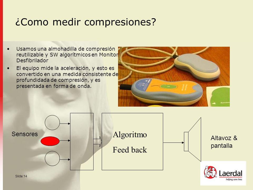 Slide:14 ¿Como medir compresiones? Usamos una almohadilla de compresión reutilizable y SW algorítmicos en Monitor / Desfibrilador El equipo mide la ac