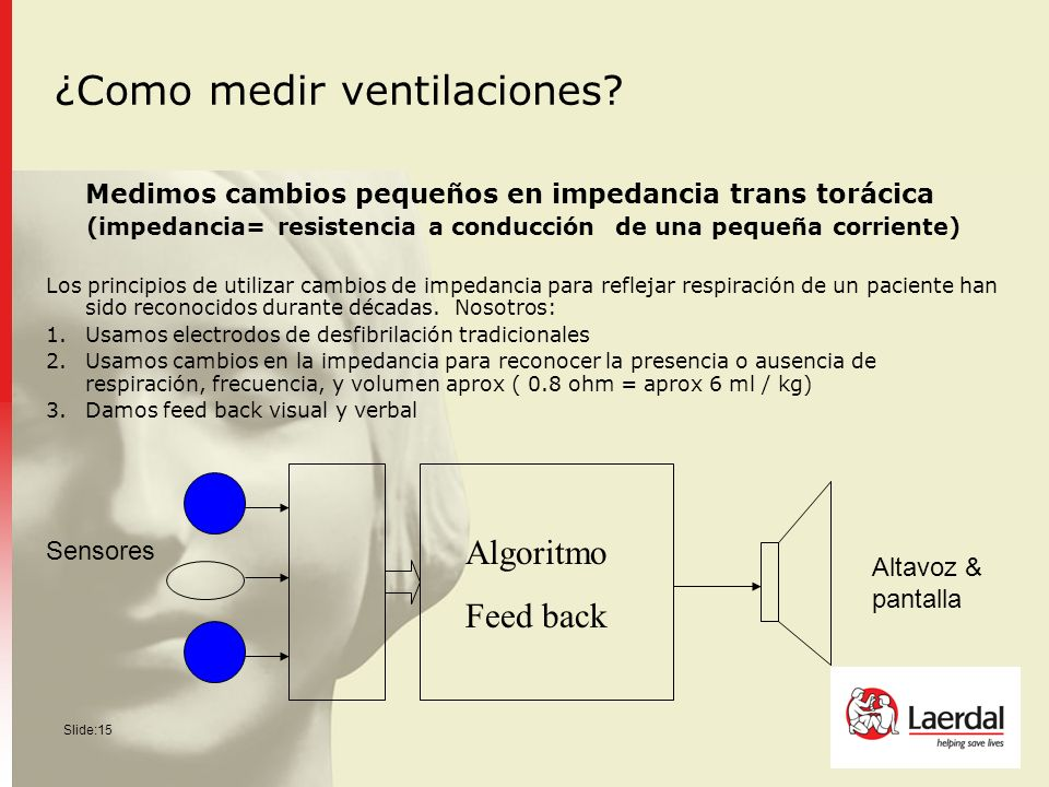 Slide:15 ¿Como medir ventilaciones? Medimos cambios pequeños en impedancia trans torácica (impedancia= resistencia a conducción de una pequeña corrien