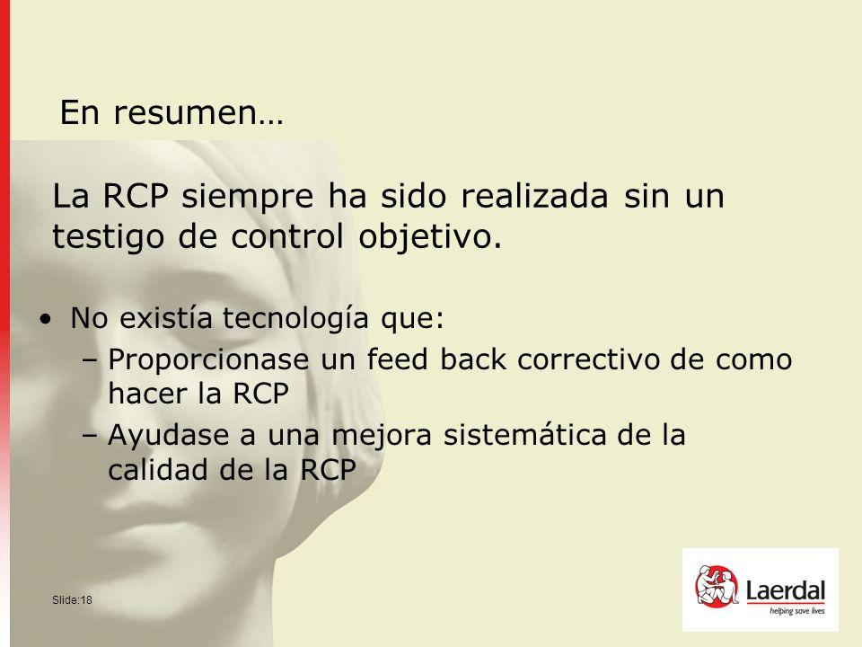 Slide:18 La RCP siempre ha sido realizada sin un testigo de control objetivo. No existía tecnología que: –Proporcionase un feed back correctivo de com