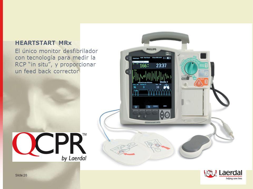 Slide:20 HEARTSTART MRx El único monitor desfibrilador con tecnología para medir la RCP in situ, y proporcionar un feed back corrector