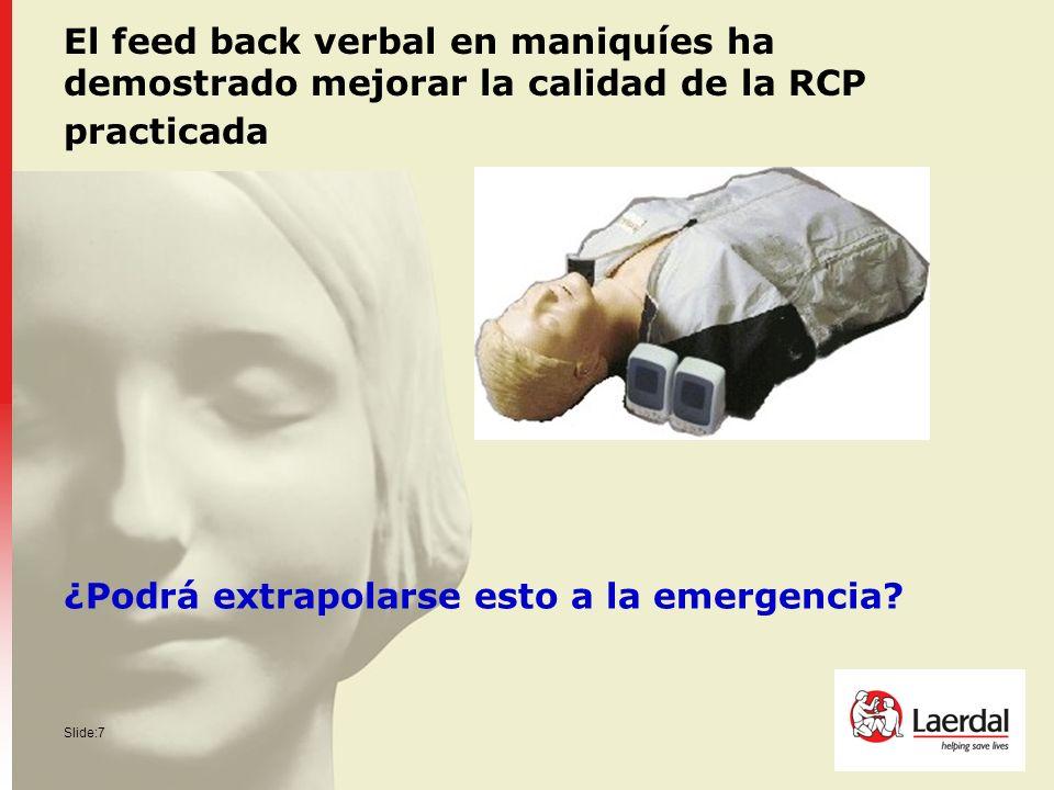 Slide:7 El feed back verbal en maniquíes ha demostrado mejorar la calidad de la RCP practicada ¿Podrá extrapolarse esto a la emergencia?