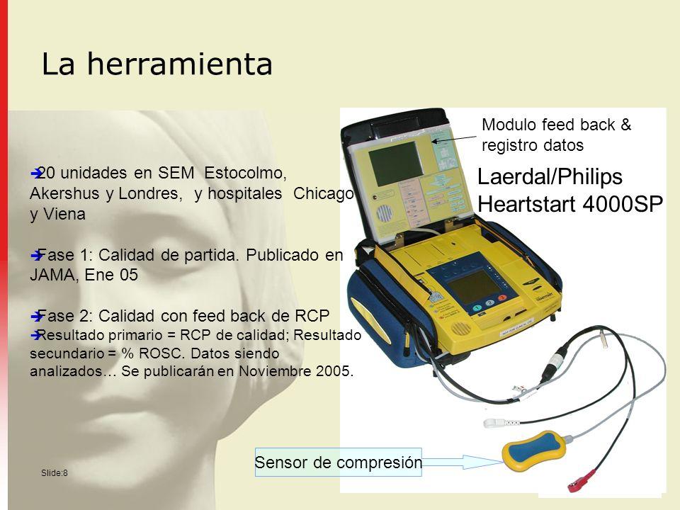 Slide:8 La herramienta Modulo feed back & registro datos Laerdal/Philips Heartstart 4000SP 20 unidades en SEM Estocolmo, Akershus y Londres, y hospita