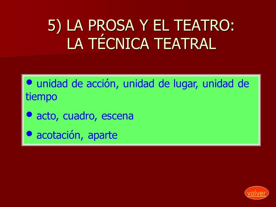 5) LA PROSA Y EL TEATRO: LA TÉCNICA TEATRAL unidad de acción, unidad de lugar, unidad de tiempo acto, cuadro, escena acotación, aparte volver