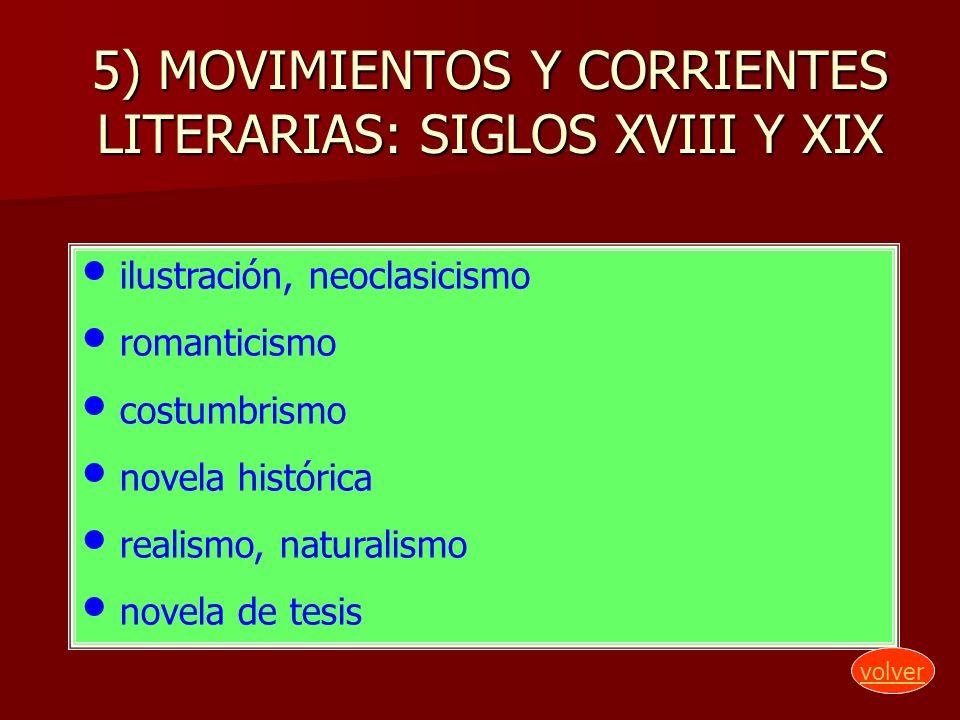 5) MOVIMIENTOS Y CORRIENTES LITERARIAS: SIGLOS XVIII Y XIX ilustración, neoclasicismo romanticismo costumbrismo novela histórica realismo, naturalismo