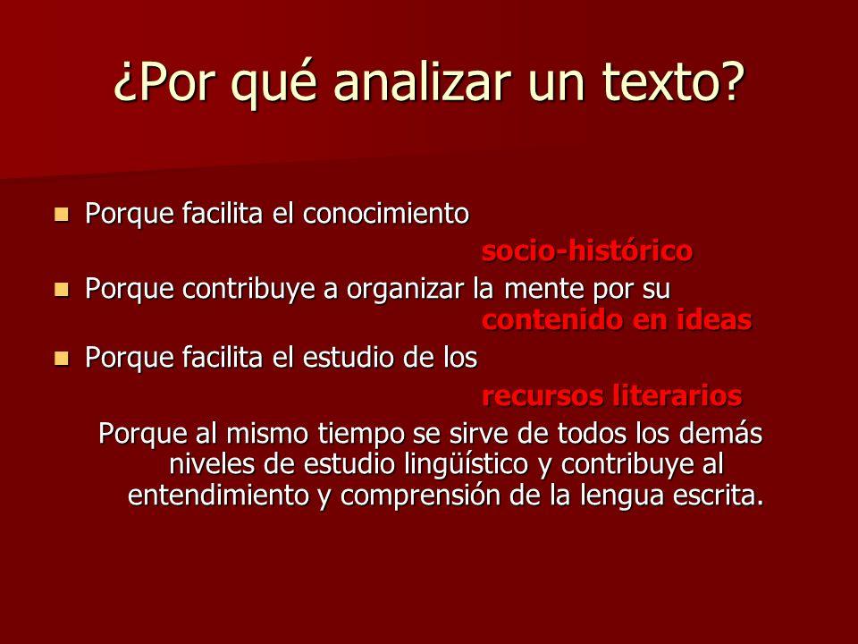 ¿Por qué analizar un texto? Porque facilita el conocimiento Porque facilita el conocimientosocio-histórico Porque contribuye a organizar la mente por
