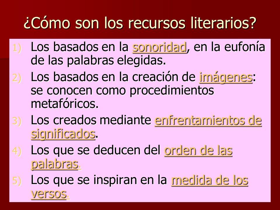 ¿Cómo son los recursos literarios? 1) Los basados en la sonoridad, en la eufonía de las palabras elegidas. sonoridad 2) Los basados en la creación de