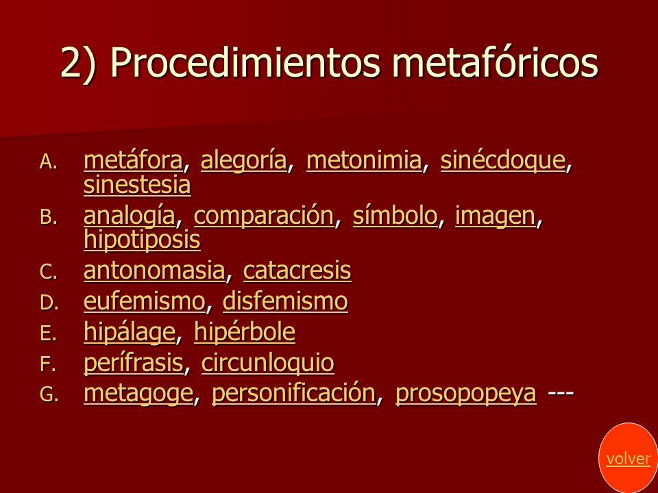 2) Procedimientos metafóricos A. metáfora, alegoría, metonimia, sinécdoque, sinestesia metáforaalegoríametonimiasinécdoque sinestesia metáforaalegoría