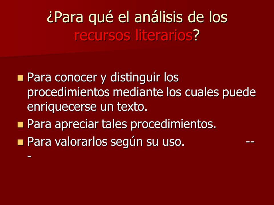 ¿Para qué el análisis de los recursos literarios.